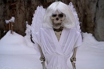 Laatste skelet van een engel in witte sneeuw van Babetts Bildergalerie