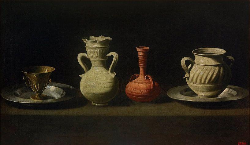 Stillleben mit vier Gefäßen, Francisco de Zurbarán von Meesterlijcke Meesters