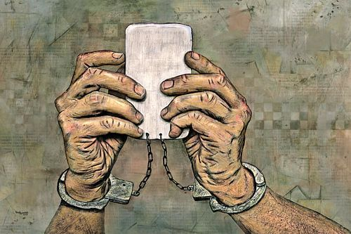 Internet Dépendance en ligne sur les téléphones mobiles