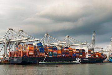 Frachtcontainerschiff auf dem Containerterminal im Hafen von Rotterdam von Sjoerd van der Wal