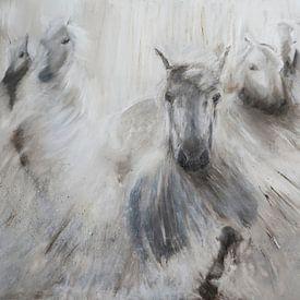 Peinture d'un troupeau de chevaux. sur Louis en Astrid Drent Fotografie