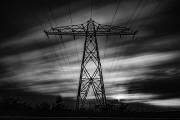 Elektriciteitsmast Lucht zwart/wit sur Frank Slaghuis