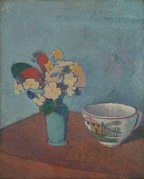 Émile Bernard-Vase mit Blumen und Tassen