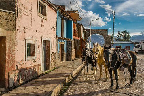 Zurück in der Zeit. Nostalgische Szene auf einem Stadtplatz, Peru von Rietje Bulthuis