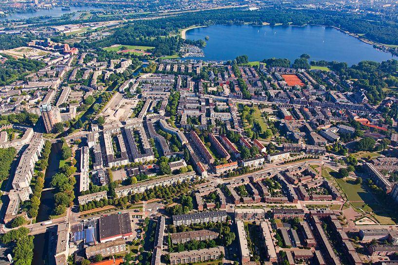 Luchtfoto Kralingen-West te Rotterdam van Anton de Zeeuw op canvas ...
