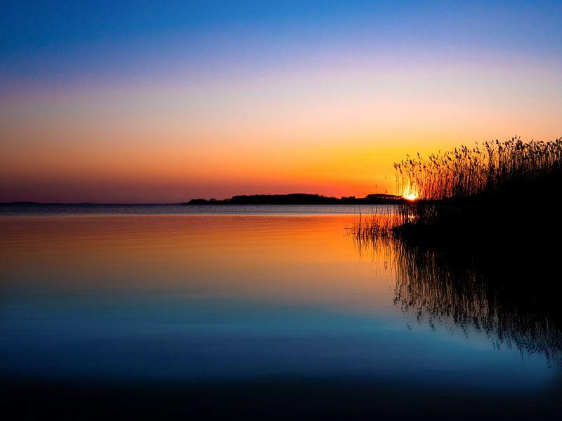 Sonnenuntergang am Achterwasser Insel Usedom von Max Steinwald