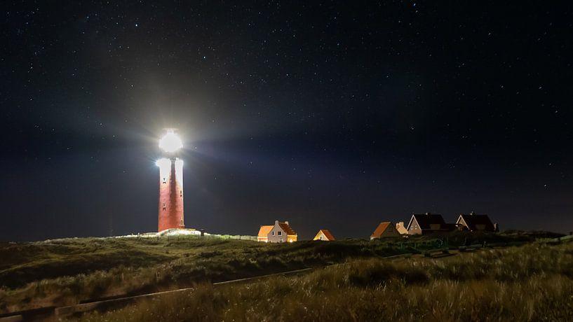 De vuurtoren van Texel bij nacht van Remco Piet