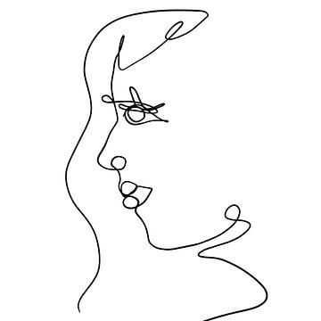 Lijntekening zwarte penstreken op witte achtergrond vormen een abstract zijaanzicht van een gezicht van Emiel de Lange