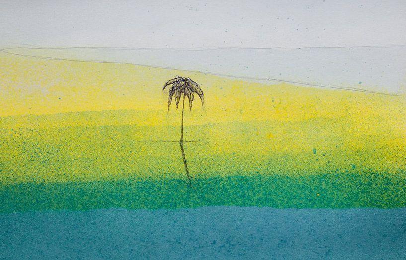 Het strand van Watercolor Wall