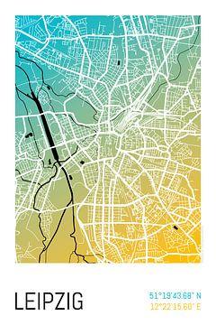Leipzig - Stadsplattegrondontwerp Stadsplattegrond (kleurverloop) van City Maps