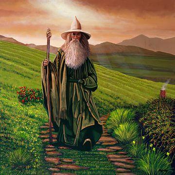 Ian McKellen als Gandalf Gemälde von Paul Meijering