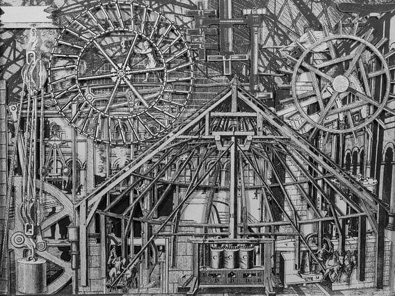 Collage in zwart-wit - afbeeldingen uit boek over techniek