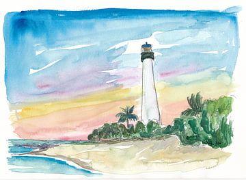 Cape Florida Leuchtturm mit Meer und Sonnenuntergang von Markus Bleichner