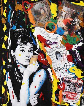 "Audrey Hepburn ""Graffiti"" van Kathleen Artist Fine Art"