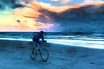 Mountainbike at the beach as art van