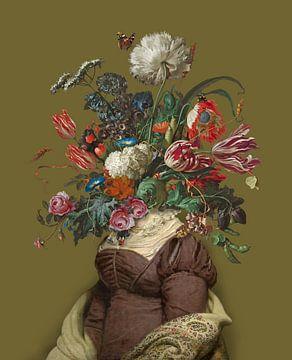 Porträt einer Frau mit einem Blumenstrauß (ockerfarben) von toon joosen