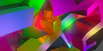 Abstract 3d graffiti kunstwerk met mooie warme kleuren combinatie van Pat Bloom - Moderne 3d en abstracte kubistiche kunst
