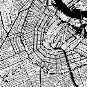 Kaart van Amsterdam in stripboekstijl