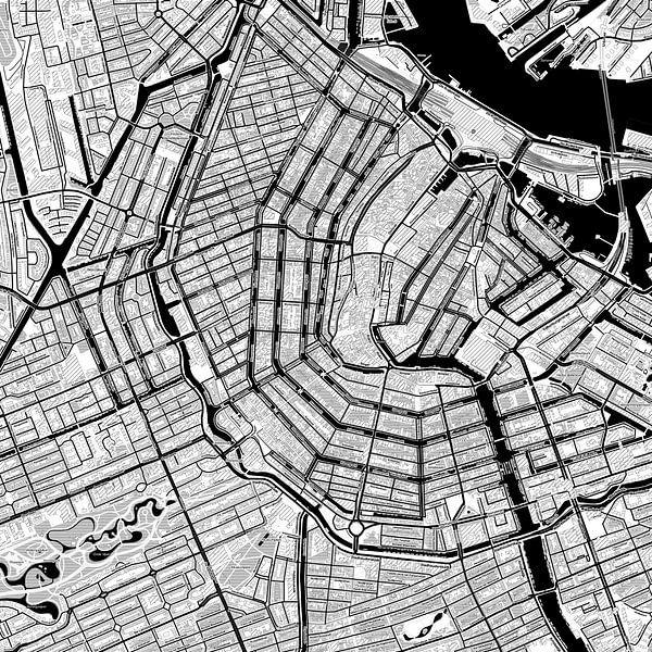 Kaart van Amsterdam in stripboekstijl van Creatieve Wereldkaarten