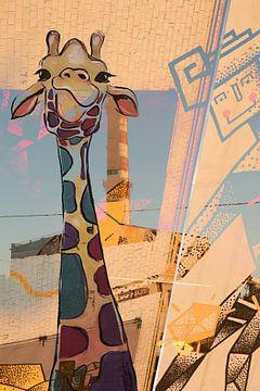 Street Art Giraffe van Rudy en Gisela Schlechter