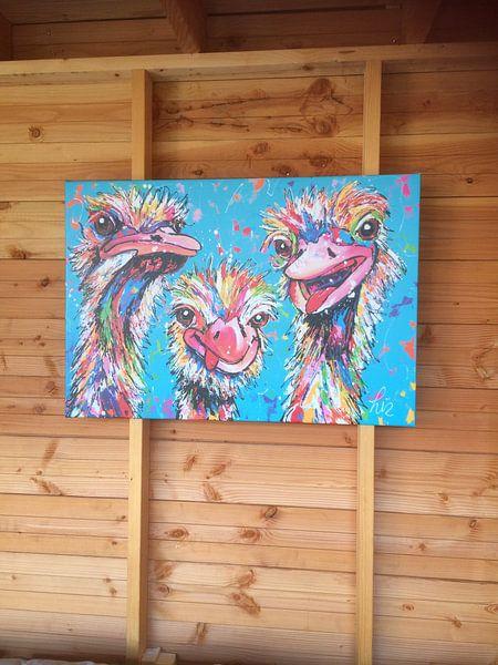 Klantfoto: Struisvogel liefde van Vrolijk Schilderij, op canvas