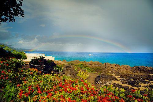 regenboog aan het strand  op zee