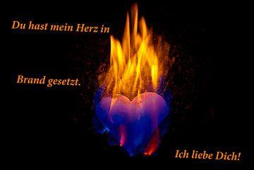 Je hebt mijn hart in vuur en vlam. Ik hou van je! van