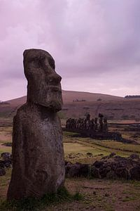 Zonsopkomst bij  Ahu Tongariki, Paaseiland, Rapa Nui