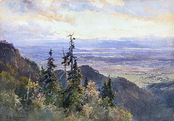 Benediktenwand (Blick auf Schlehdorf und den Kochelsee), EDWARD THEODORE COMPTON, 1875