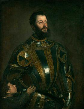 Porträt von Alfonso d'Avalos, Marquis von Vasto, in Rüstung, Titiaan