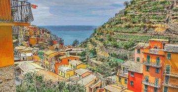 Cinque Terre - Uitzicht over Manarola - Italië - Cartoon Schilderij