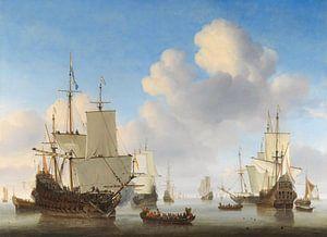 Hollandse schepen op een kalme zee van