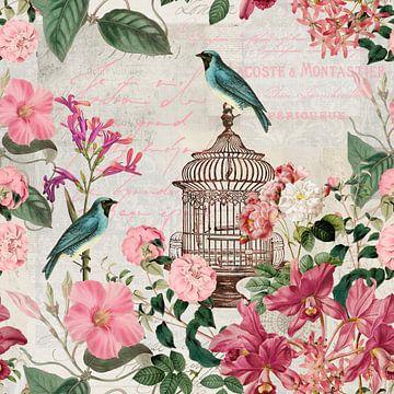 Nostalgische Vögel Und Blumen