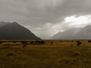 Onheilspellende vlakte in Arthur's Pass, Nieuw-Zeeland van J V