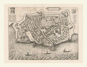 Kaart van Harderwijk aan de Zuiderzee uit ca 1652, met wit kader