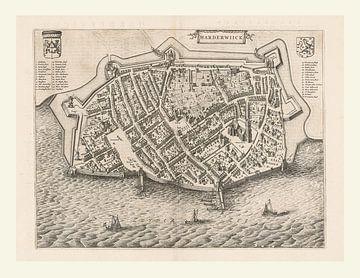 Kaart van Harderwijk aan de Zuiderzee uit ca 1652, met wit kader van Gert Hilbink