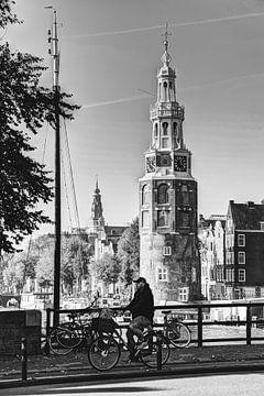 Centre-ville d'Amsterdam Pays-Bas Noir et blanc