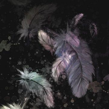 chique kunstwerk - donkere achtergrond - gekleurde veertjes van Emiel de Lange