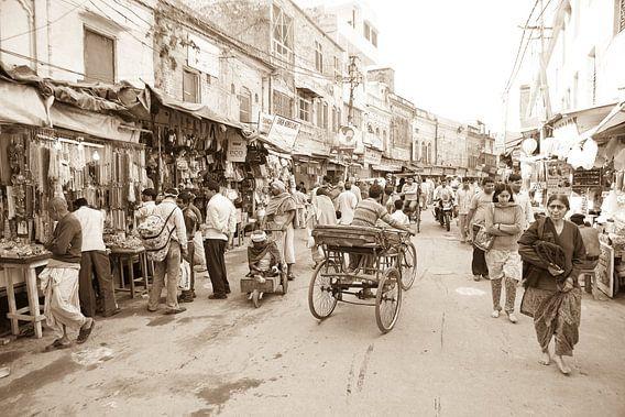 Straat in  Haridwar, India van Paul Piebinga