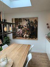 Klantfoto: Jan Steen, 'Soo voer gesongen, soo na gepepen', op canvas