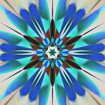 Abstrakte Blume Mandala in rot blau grün von Maurice Dawson