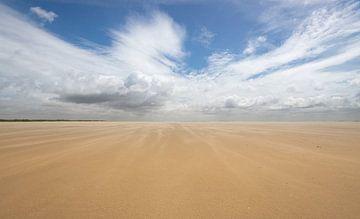 Alleen op de wereld, vergezicht over het strand van Michel Knikker