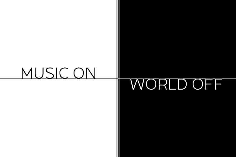 Text Art MUSIC ON - WORLD OFF van Melanie Viola