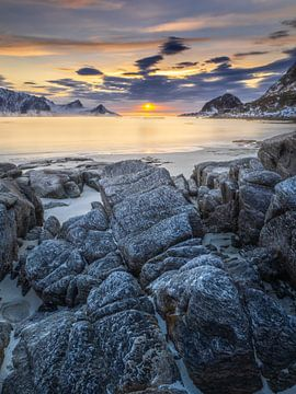 Zonsondergang Haukland strand von Henk Goossens