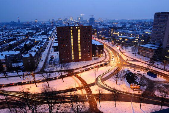 Uitzicht over deel Staatsliedenbuurt in Utrecht van Donker Utrecht
