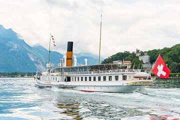 Steam boat La Suisse sailing on Leman lake (Switzerland). van