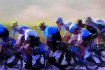 Radfahrer bei der Tour de France, hohes Tempo von Paul Nieuwendijk