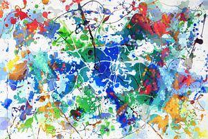 Modernes, abstraktes digitales Kunstwerk in Blau Grün Orange von Art By Dominic