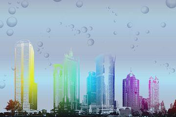 Skyline in den Regenbogenfarben , digitale Verarbeitung von Rietje Bulthuis