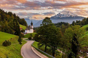 Wallfahrtskirche Maria Gern zum Sonnenuntergang